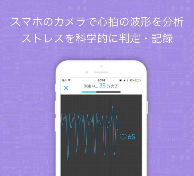 スマホのカメラで心拍の波形を分析ストレスを科学的に判定・記録